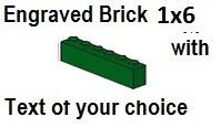 Custom Engrave Brick 1 x 6 Green
