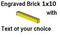 Custom Engrave Brick 1 x 10 Yellow