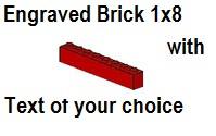 Custom Engrave Brick 1 x 8 Red