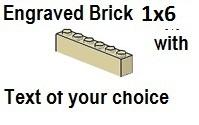 Custom Engrave  Brick 1 x 6 Tan