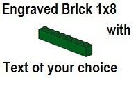 Custom Engrave Brick 1 x 8 Green