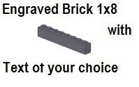 Custom Engrave  Brick 1 x 8 Dark Bluish Gray