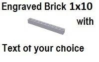 Custom Engrave Brick 1 x 10 Light Bluish Gray