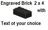 Custom Engrave Brick 2 x 4 Black