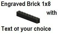 Custom Engrave  Brick 1 x 8 Black