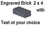 Custom Engrave Brick 2 x 4 Dark Bluish Gray