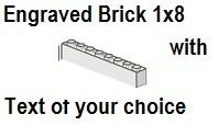 Custom Engrave Brick 1 x 8 White