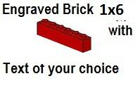 Custom Engrave Brick 1 x 6 Red