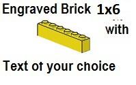 Custom Engrave Brick 1 x 6 Yellow