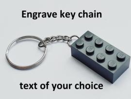 Dark Bluish Gray Brick 2 x 4 Key Chain