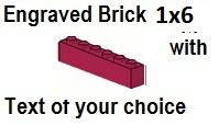 Custom Engrave Brick 1 x 6 Magenta