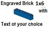 Custom Engrave Brick 1 x 6 Blue