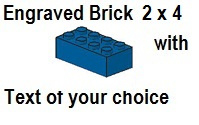 Custom Engrave Brick 2 x 4 Blue