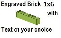 Custom Engrave Brick 1 x 6 Lime