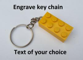 Yellow 2 x 4 key chain