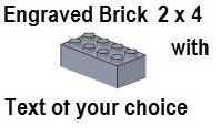 Custom Engrave Brick 2 x 4 Light Bluish Gray
