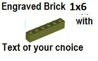 Custom Engrave Brick 1 x 6Olive Green