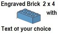 Custom Engrave Brick 2 x 4 Medium Blue