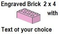 Custom Engrave Brick 2 x 4 Bright Pink