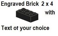 Custom Engrave Brick 2 x 4 Black