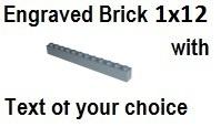 Custom Engrave Brick 1 x 12 Dark Bluish Gray