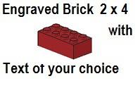 Custom Engrave Brick 2 x 4 Dark Red