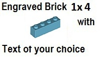 Custom Engrave Brick 1 x 4 Medium blue