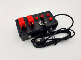 PC USB Button Box 7 functions red buttons & ignition Key for Truck simulation