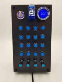 PC or PS4 USB button Box 32 functions in blue  with toggle, rotary, engine start, encoders for  sim racing
