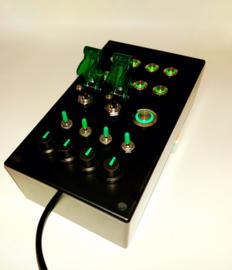 PC USB Button box  27 function metallic back lit Green for flight simulators and sim racing