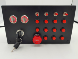 Usb button box for PC truck simulation 23 function with engine start key, parking brake,  red back lit rotaries and red buttons