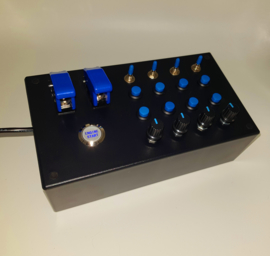 PC USB button Box 31 functions in blue push buttons & encoders + toggles for sim racing