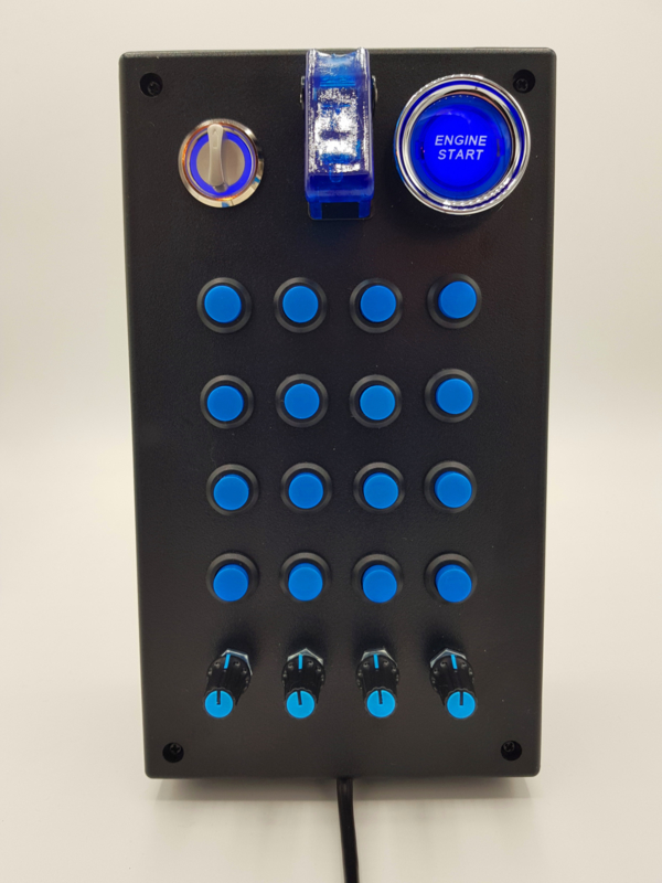 PC or PS4 USB button Box 31 functions in blue  with toggle, rotary, engine start, encoders for  sim racing