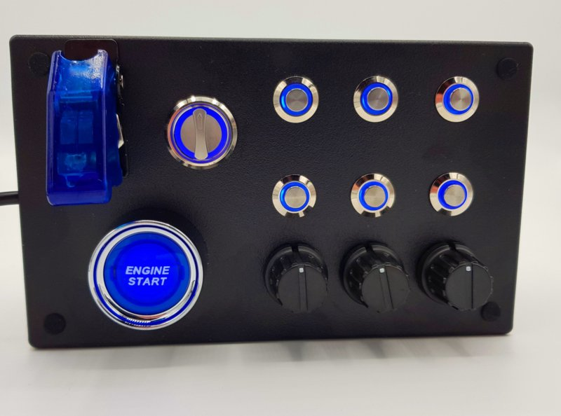 PC or Ps4 USB 19 functions push Button Box Blue back lit buttons, start engine, rotary back lit selector for sim racing
