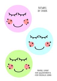 Rijstwafel stickers maan (6 stuks)