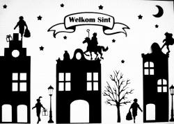 Sinterklaas straatje (statische raamsticker)