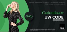 Cadeaukaart - 200 euro