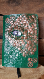 Notitieblok A6 koper draak met paars oog