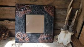 Fotolijst donkerbruin / koper draak met blauw oog