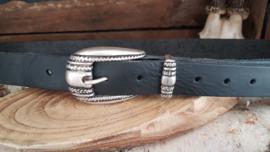 Zwarte riem met zilveren gesp 3 cm