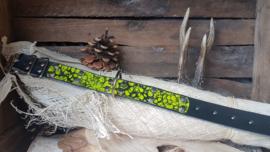 Zwarte halsband met geel / zwarte opzet Kegel