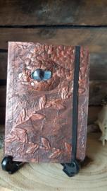 Notitieblok A6 koper draak met blauw oog