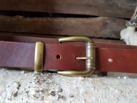 Bruine broekriem met bronzen gesp 3,5cm