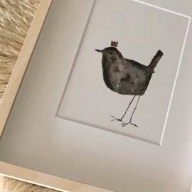 lucky bird in lijst met passe-partout