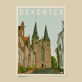 Poster de Bergkerk | Vintage Stads Posters | A4, A3 of A2