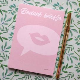 Bedank briefje -  Notitieblokje A6 - By Bean