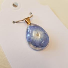 Hanger druppel blauwe bloem (2) NIEUW