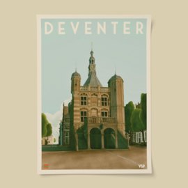 Poster Deventer - de Waag | Vintage Stads Posters | A4, A3 of A2
