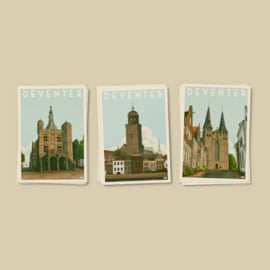3 luik Kaarten Deventer | Vintage Stadsposters