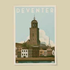 Poster Deventer | Vintage Stads Posters | A4, A3 of A2